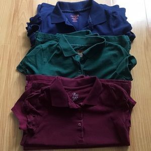 School uniform blue, green and maroon shirt